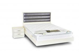 מיטה זוגית מרחפת עם ראש מיטה - דגם פסים