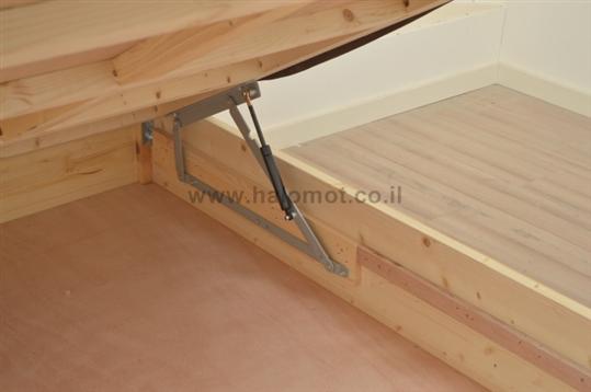 מיטה זוגית מעץ מלא עם ארגז , מאור פלוס