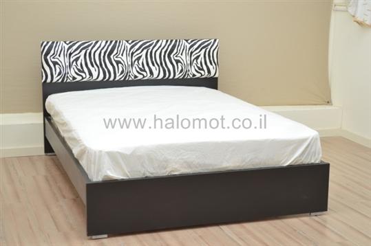 מיטה זוגית עם ארגז מצעים דגם זברה