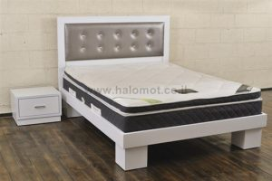 מיטה זוגית עם ראש מיטה מרופד דגם טוקיו אבני חן