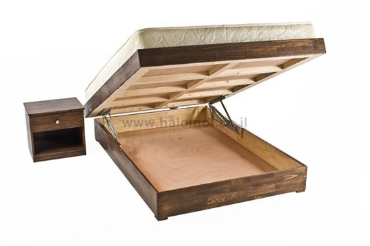 מיטה זוגית עם ארגז מצעים עץ מלא - פגודה
