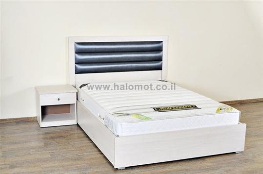 מיטה זוגית עם ארגז מצעים וראש מרופד פסים