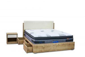 מיטה זוגית עם ארגז חכם ראש מרופד