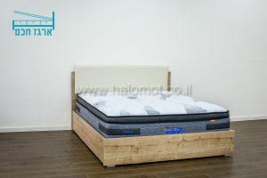 מיטה זוגית עם ארגז מצעים חכם וראש מיטה מרופד