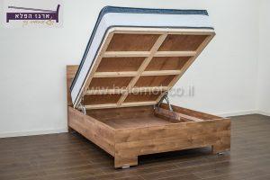 מיטה זוגית עם ארגז מצעים מוגבה - ארגז הפלא