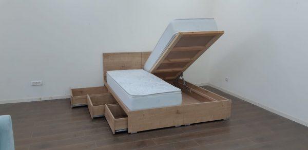 מיטה דגם ספיר להפרדה צד אחד ארגז מתרומם צד אחד מגירות