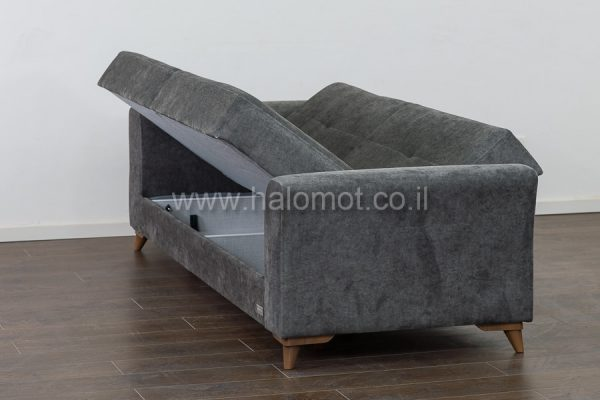 ספה תלת נפתחת למיטה זוגית עם ארגז מצעים - דגם שלכת