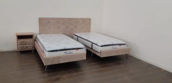 מיטה יהודית מרופדת דגם פרלין פלוס ראש אחד גדול
