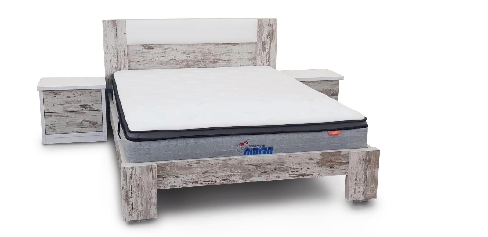 מיטה זוגית דגם גיא + ראש מיטה בשילוב כרית ריפוד